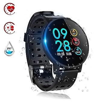 Reloj Inteligente, Smartwatch Impermeable IP67 Pulsera Actividad con Pulsómetro, Monitor de Sueño,Podómetro Hombres Mujeres Rastreador de Fitness, ...