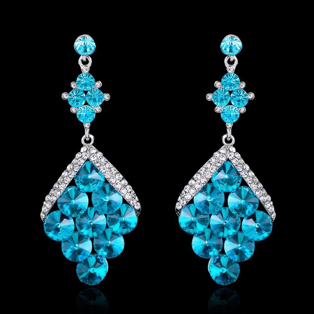 YAZILIND Sapphire blue rhinestone cubic zirconia pendant drop dangle earrings shiny party jewelry