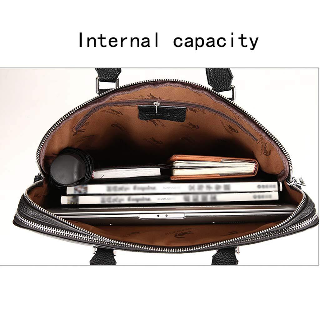 Color : Black, Size : 39cm Cloud Mens Briefcase Business Casual Shoulder Portable Diagonal Computer Bag