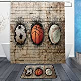 ALAZA Soccer Basketball Baseball into Wall Waterproof Polyester Fabric Shower Curtain 60 W x 72 H Inch with Hooks Doormat Bath Floor Mat 23.6 L x 15.7 W Inch Bathroom Home Decor