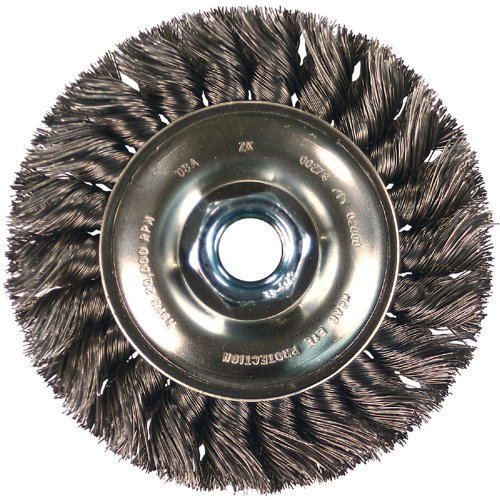 4 Diameter PFERD 82523 Single Row Power Knot Cup Wire Brush with External Nut and Standard Twist 5//8-11 Thread Carbon Steel Bristles 0.023 Wire Size 9000 Maximum RPM Threaded Hole