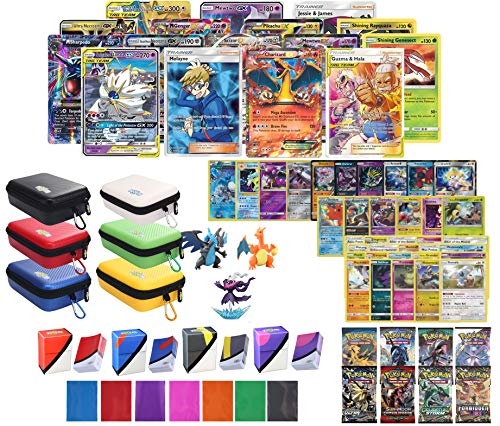 Totem World Pokemon Premium Collection 100 Cards with Tag Team GX Mega EX Trainer or Shining Holo, 10 Rares, 4 Booster Packs, 100 Protector Sleeves, Card Case, Deck Box and Figure (Mega Pokemon Booster Packs)