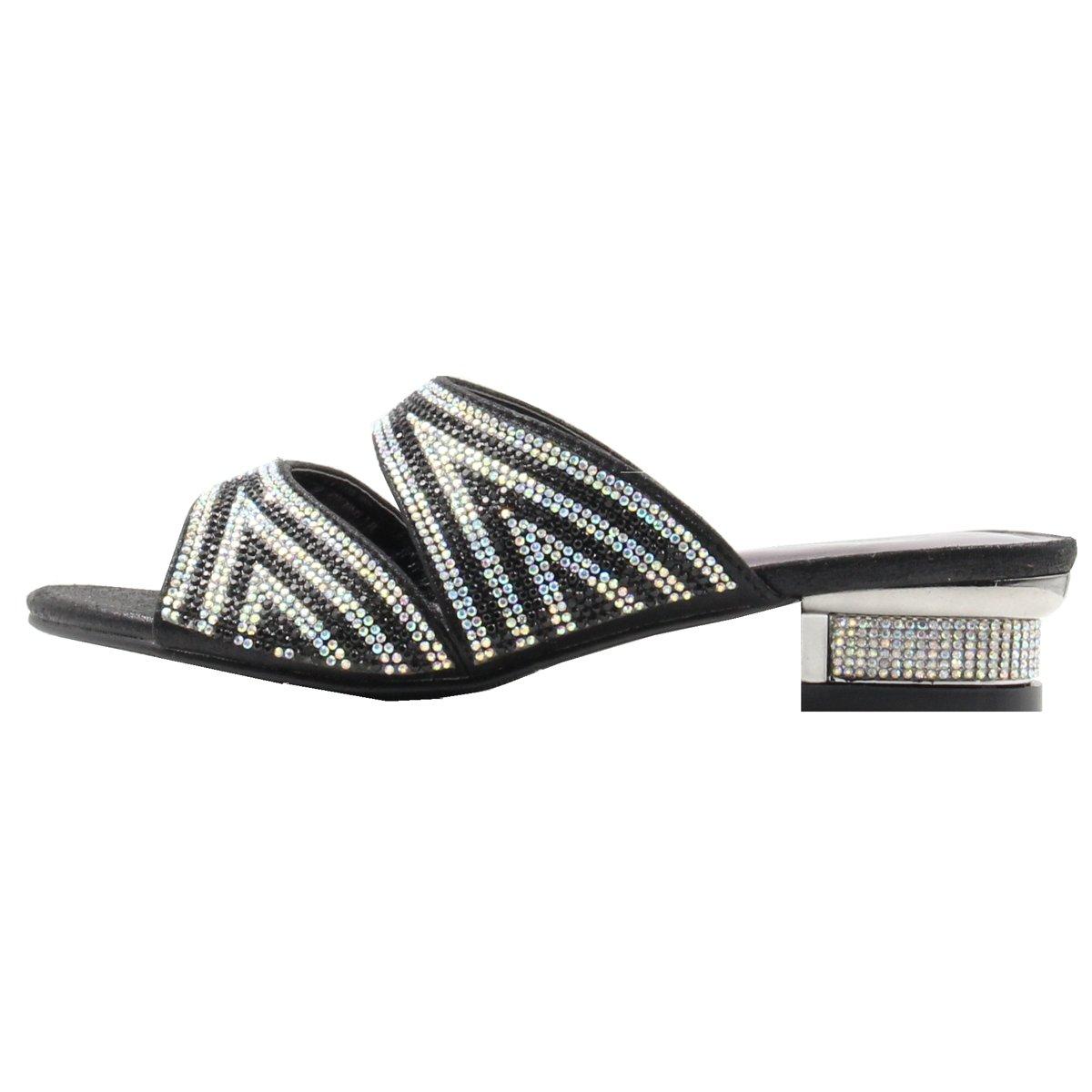 Women's Rhinestone Glitter Two-Piece Upper Open Toe Low Heeled Sandals with Memory Foam (9, Black)