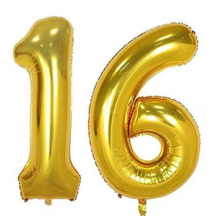 Amazon 40inch Gold Foil 16 Helium Jumbo Digital Number Balloons
