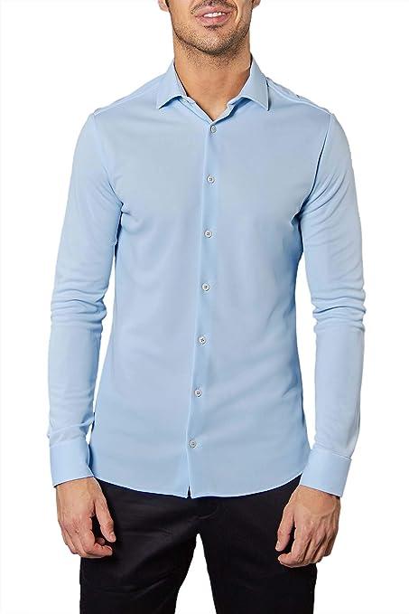 Sepiia Camisa Blanca Slim Cuello Italiano: Amazon.es: Ropa y accesorios