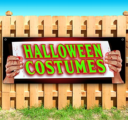 (Halloween Costumes 13 oz Heavy Duty Vinyl Banner Sign with Metal Grommets, New, Store, Advertising, Flag, (Many Sizes)