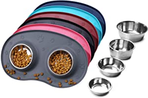 VIVAGLORY Dog Bowls Stainless Steel Food Water Bowl with Wider Non Skid Spill Proof Silicone Mat for Cats Puppies, Grey
