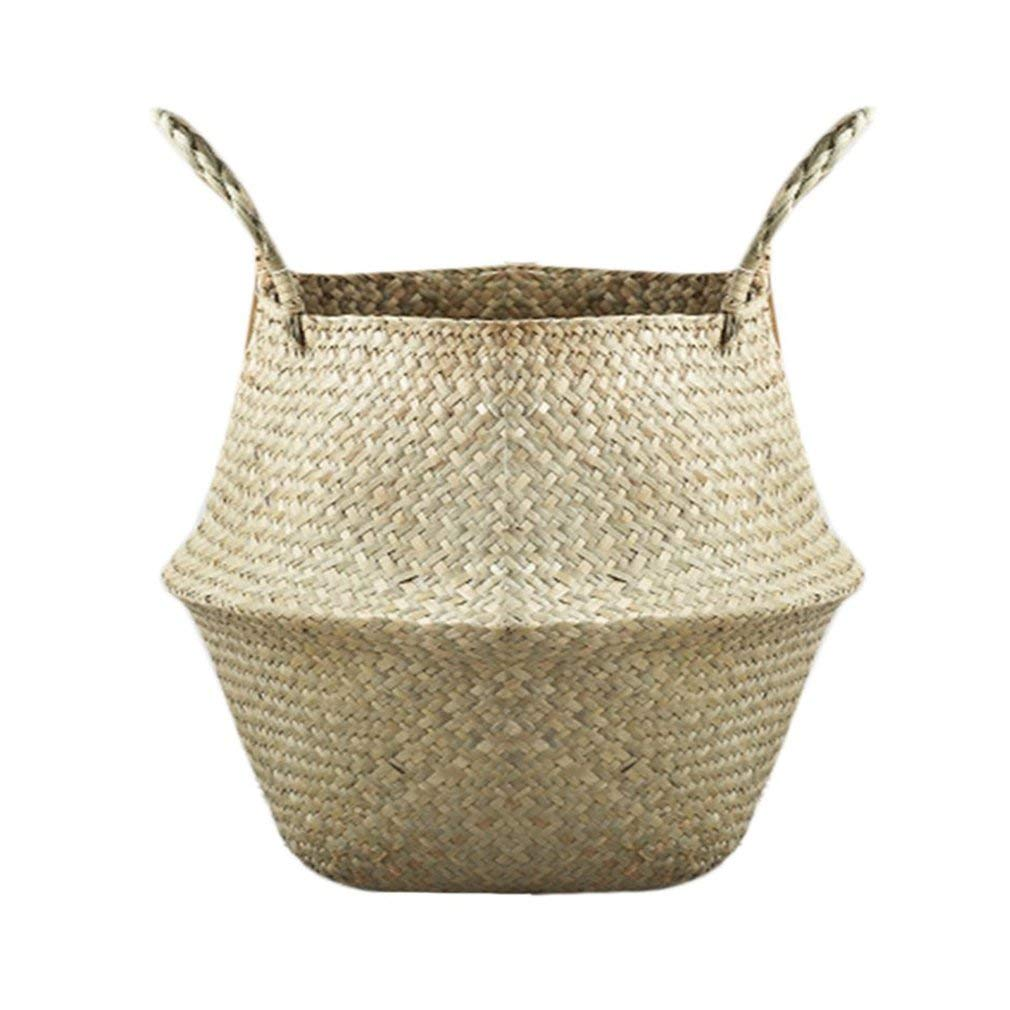Foldable Seagrass Tote Belly Basket Natural Handcraft Storage Organizer Planter Pot Flower Vase Home Decor XXXL 45x38cm Aszune