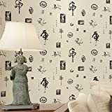 Vintage Chinese classical calligraphy and painting wallpaper wallpaper seal Charms,Beige background