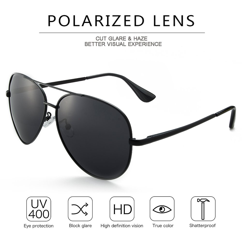 WELUK Military Aviator Sunglasses for Men Polarized Pilot Navigator Driving Classic Retro Metal Frame Black