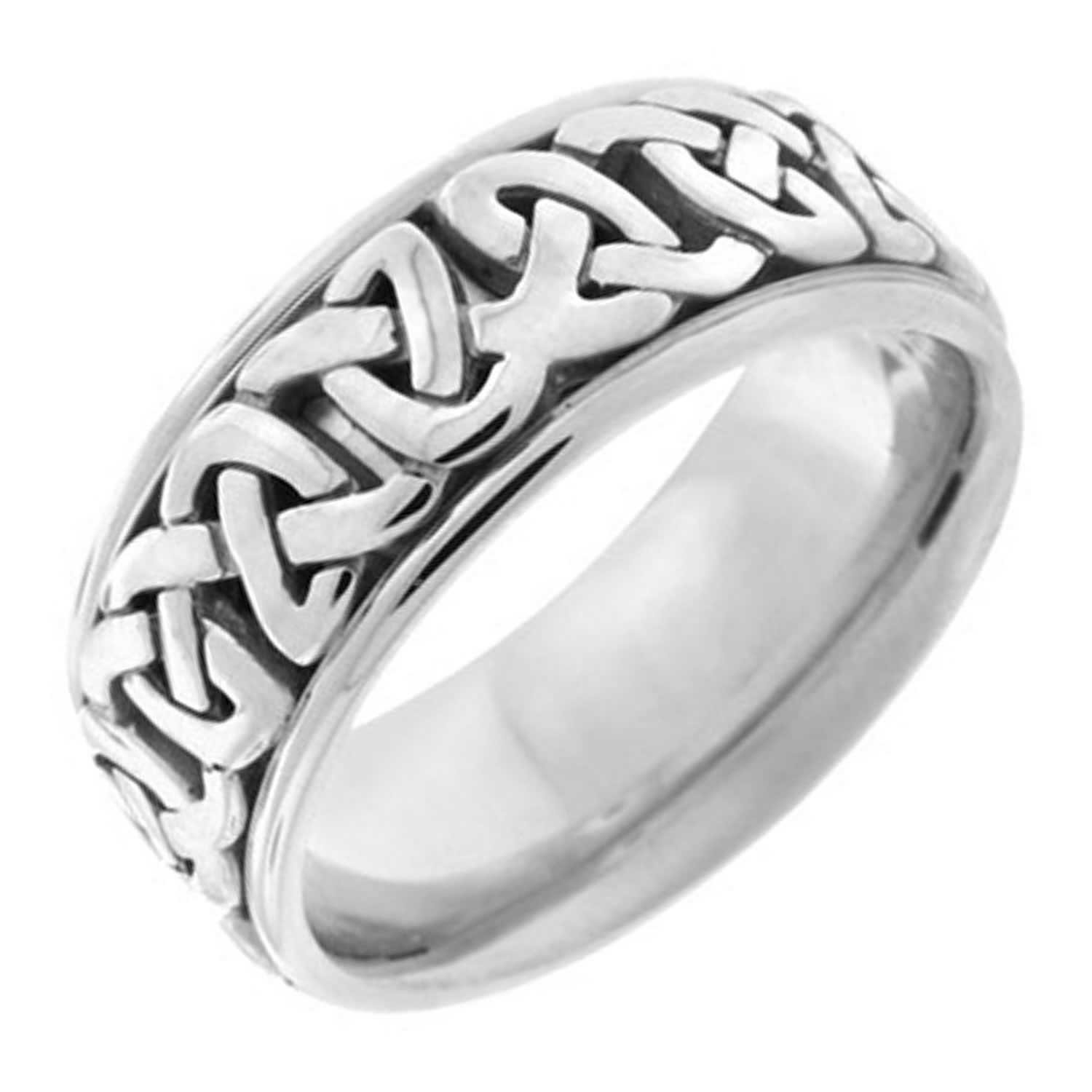 14K White Gold Celtic Love Knot Men's Comfort Fit Wedding Band (8.5mm) Size-11.5c1