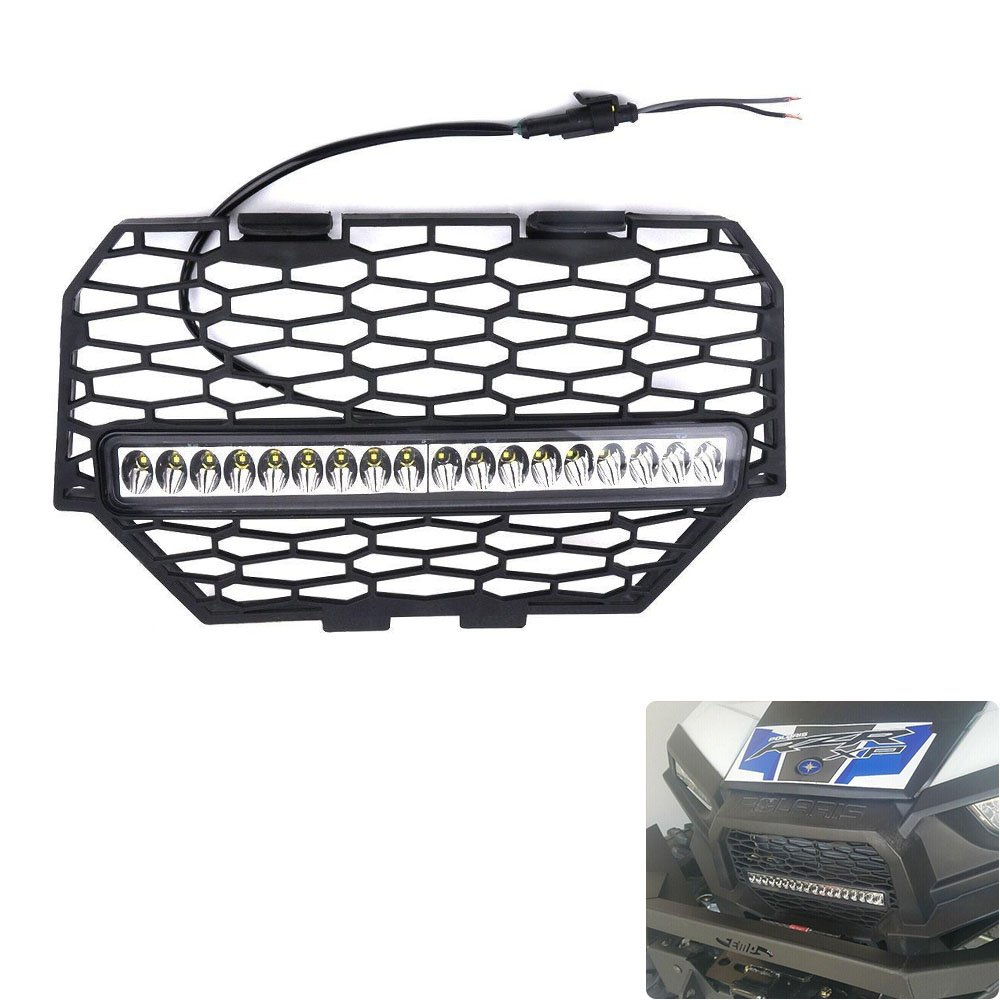 KEMIMOTO Front Mesh Grill with LED Light Bar for RZR XP 1000 Light Bar Included