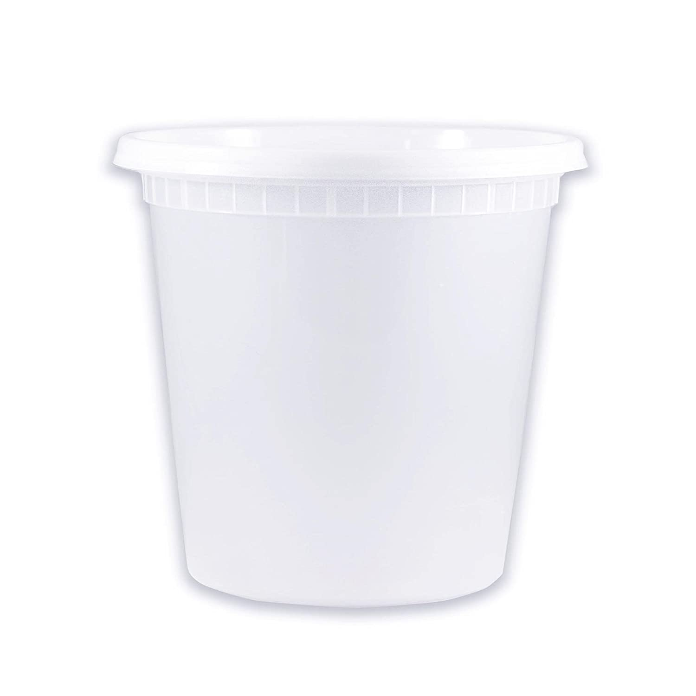 EDI 50 Sets Plastic Food Storage Plastic Containers with Lids (24 OZ)