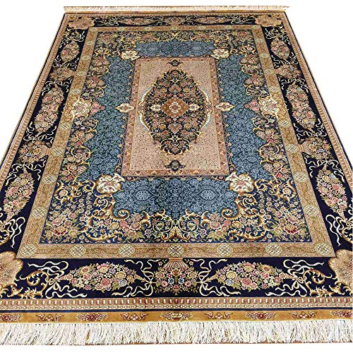 YUCHEN CARPET 5.5x8 Blue Kashan Hand Knotted Persian Silk Rug for Living Room