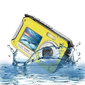 Underwater Camera for Snorkelling 24.0 MP Waterproof Digital Camera Float Full HD 1080P Dual Screen Waterproof Action Camera