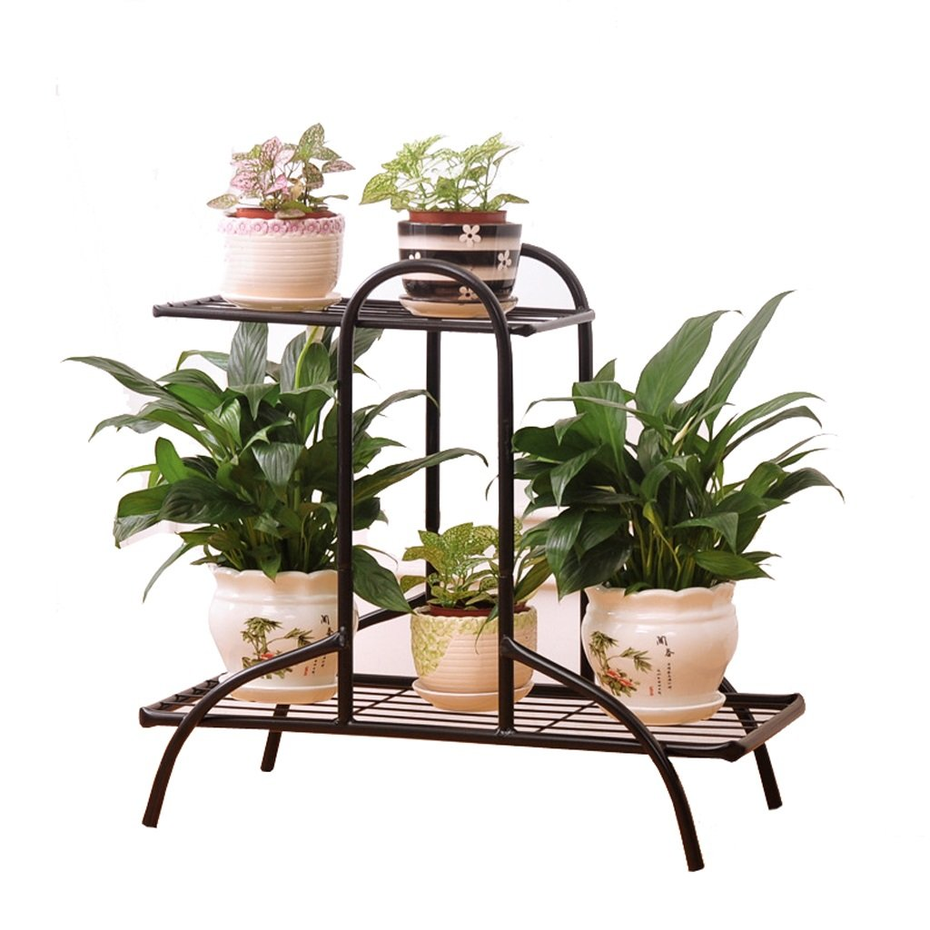 L;IAN European Style Iron Flower Shelf, Living Room Balcony Flower Pot Rack Indoor And Outdoor Multifunction Flower Stand Stable Strong Storage Space (Color : Black) by L;IAN