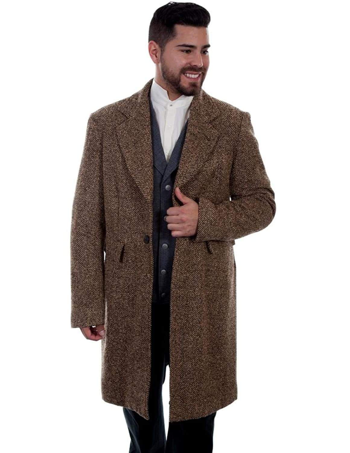 Men's Steampunk Jackets, Coats & Suits Scully Western Coat Mens Herringbone Frock Button Flap Pockets 521129 $239.95 AT vintagedancer.com