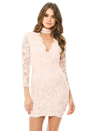 9893c0d5dae2 AX Paris Women s Lace Choker Bodycon Mini Dress(Pink
