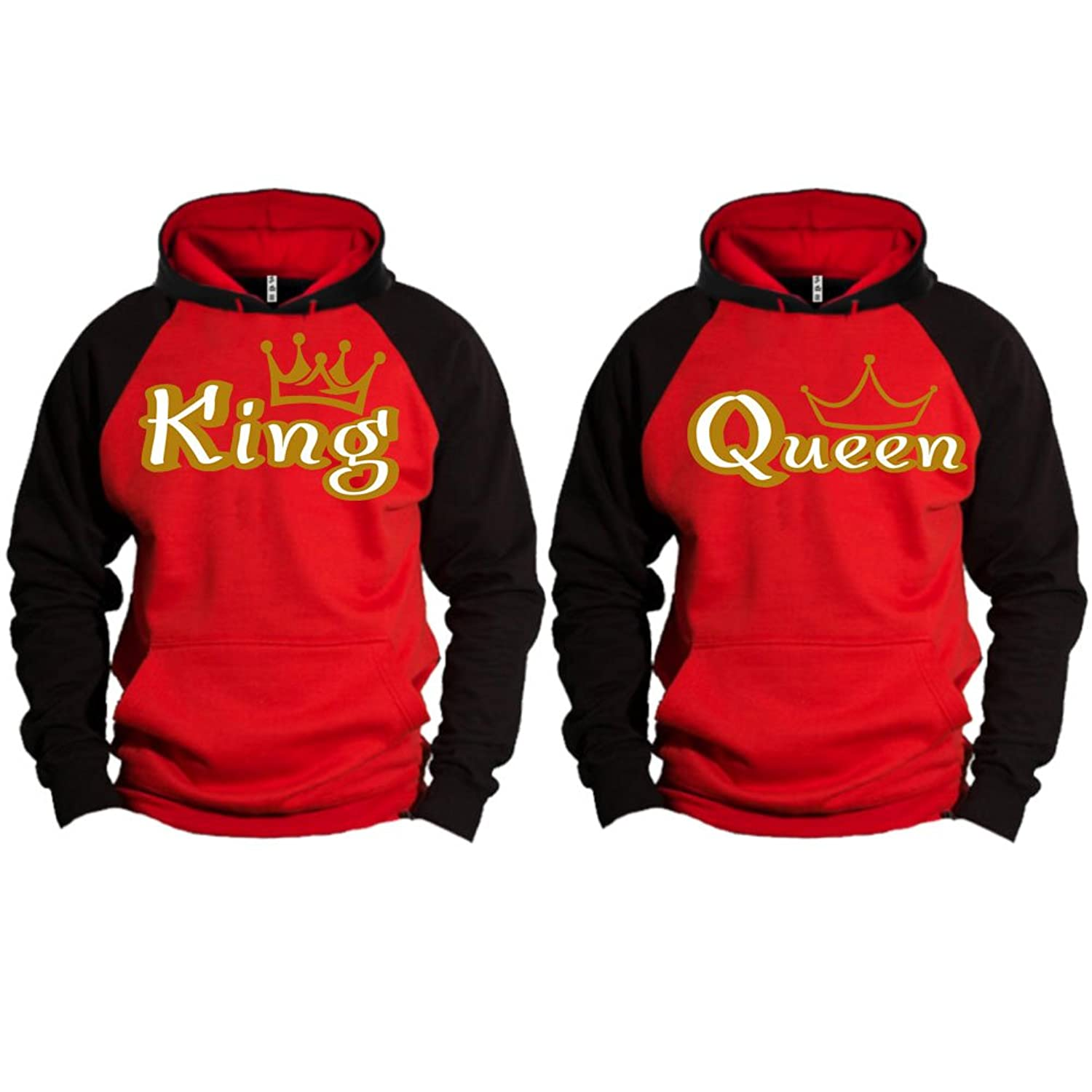 f38f5d67f6 80% cotton. S&R GOLD King Queen Crown Raglan Hoodie Pullover Hooded  Sweatshirt The only authorized seller is Gaston Ladybird.