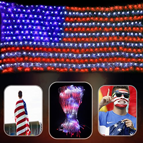 DLIUZ Led Flag Net Lights of The United States Waterproof American Flag Light for Independence Day, Memorial Day, Festival, Garden, Indoor and Outdoor by DLIUZ