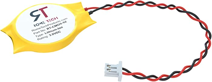 Rome Tech CMOS Battery for DELL Precision M90 M6300 M1720 M1730 M20 M2010 M22 M2300 M4300 M70 - Laptop Backup BIOS RTC 3V CR2032 Battery - 2 Wire Cable