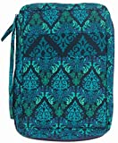 DIWI Large Sizes 10 X 7 X 2.75 Inches Bible Cover Quilted Good Book Cover Quilted Cotton Fabric Bible Cover Zip Closer Slip Pocket (L, 1707D Green Fence)