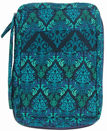 DIWI Large Sizes 10 X 7 X 2.75 Inches Bible Cover Quilted Good Book Cover Quilted Cotton Fabric Bible Cover Zip Closer Slip Pocket (L, 1707D Green Fence) - Bible Cover Flap
