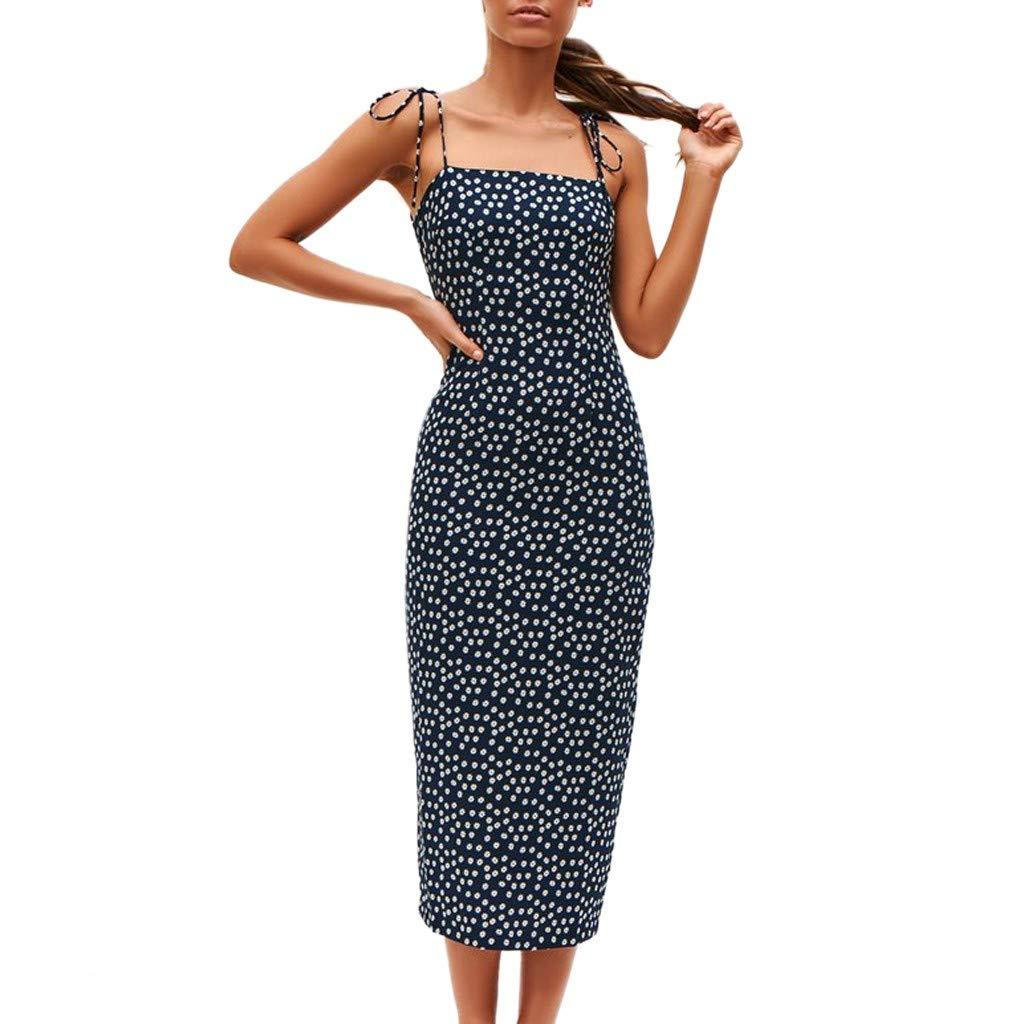 Wrap Dress Sexy Womens Fashion Ladies Open Fork Lace-Up Zipper Print Casual Dress (Blue,S)