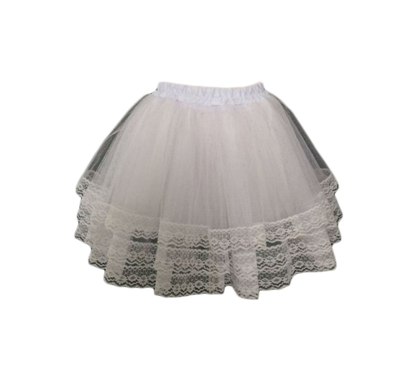 Dannifore Girl's 3 Layers Lace Tulle Petticoat Hoopless Short Children Underskirt Slips White,Style2