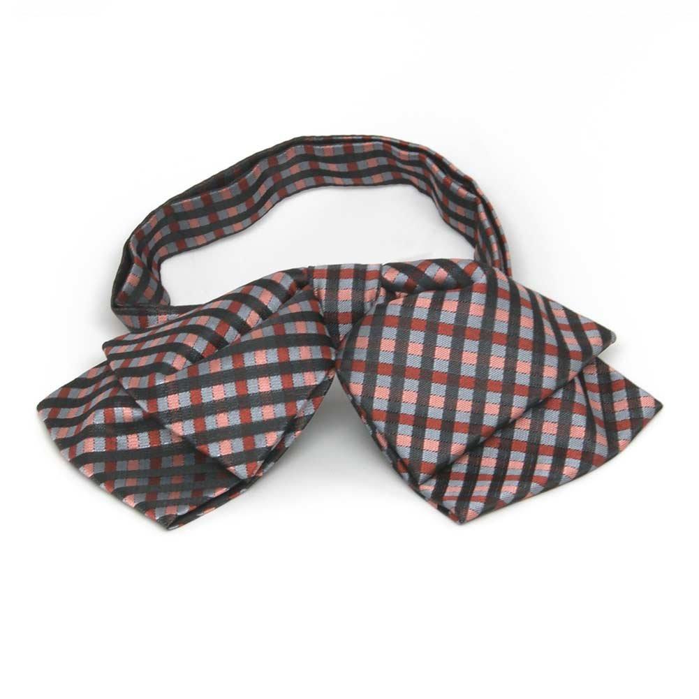 TieMart Terracotta George Plaid Floppy Bow Tie