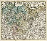 School Atlas   1753 Tabula geographica Circ. Saxoniae Superioris et Inferioris   Historic Antique Vintage Map Reprint