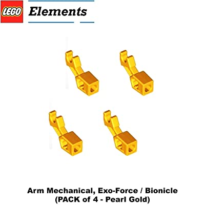 Lego Parts: Arm Mechanical, Exo-Force / Bionicle (PACK of 4 - Pearl Gold)