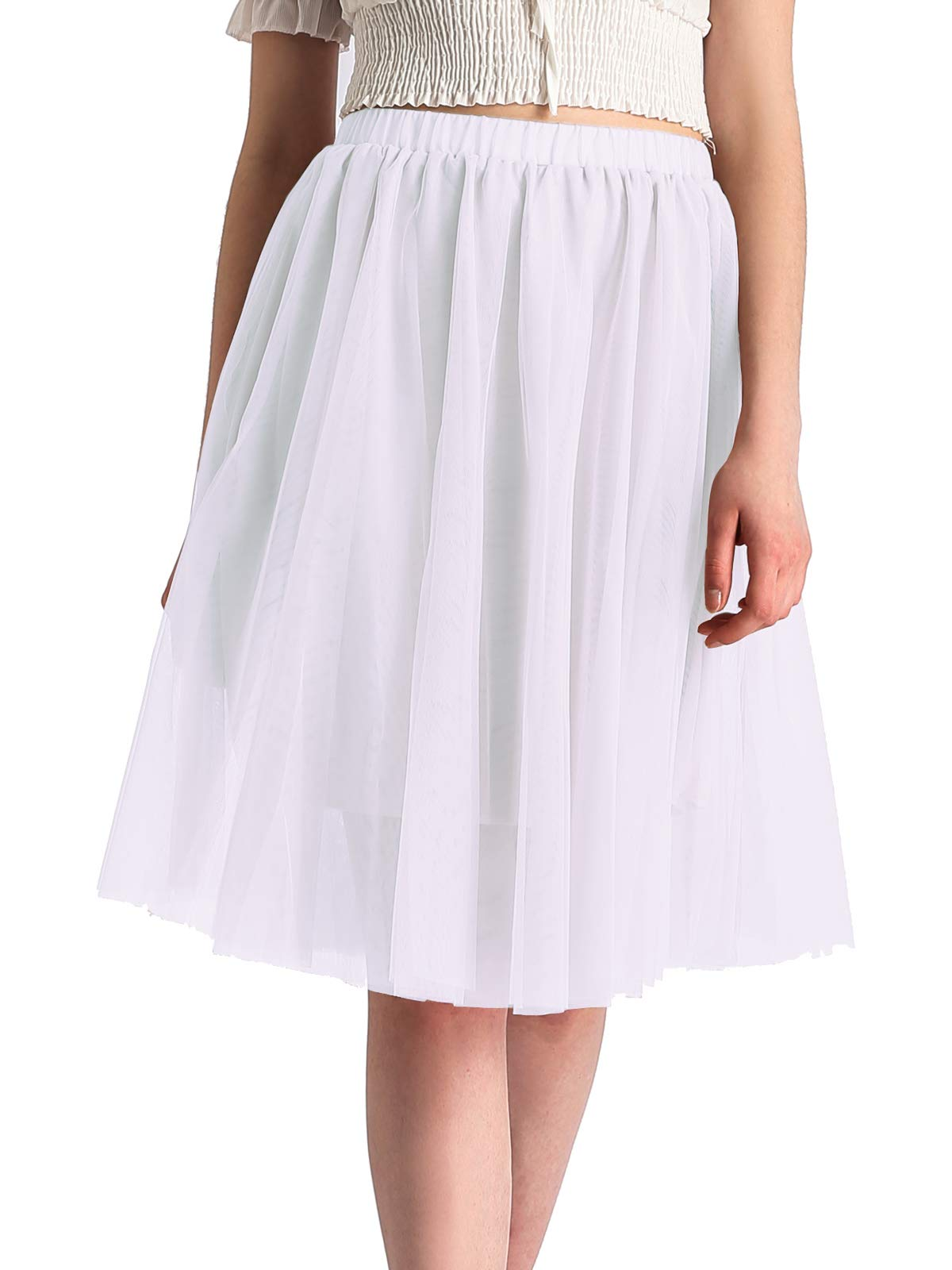 Beluring Womens Summer White Tutu Tulle Skirt Petticoat Underskirt Fashion 2018 One Size