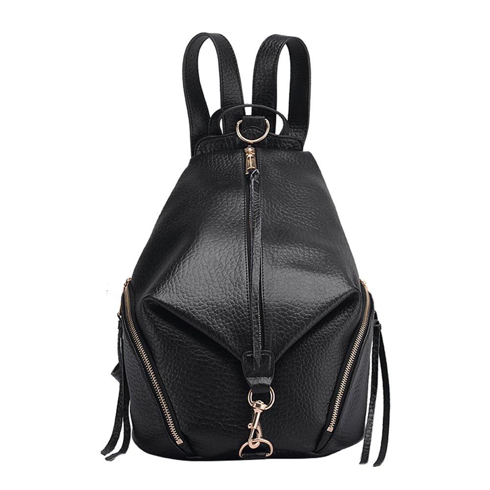 女性のためのファッションクラシックバックパック本物のレザーシンプルなスタイルのソフト多機能大容量ブラックバッグ  GoldChain B07FSB3ZPX