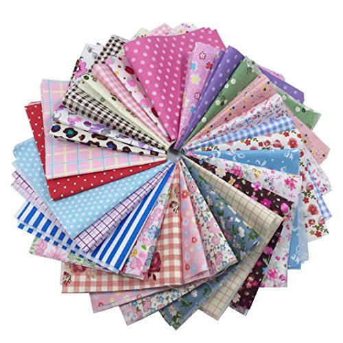 levylisa 25 Pieces Pre Cut Assorted Colours Cotton Printed Quilting Fabric Patchwork Fabric Patchwork Quilting Sewing Fabric Patchwork Flower Dots DIY Sewing Quilting Handmade Craft 8 x 8inches
