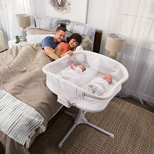 HALO BassiNest Twin Sleeper, Bedside Double Bassinet, Adjustable, Soothing Center with Nightlight, Vibration, Soothing Sounds and Lullabies – Premiere Series, Sand Circle