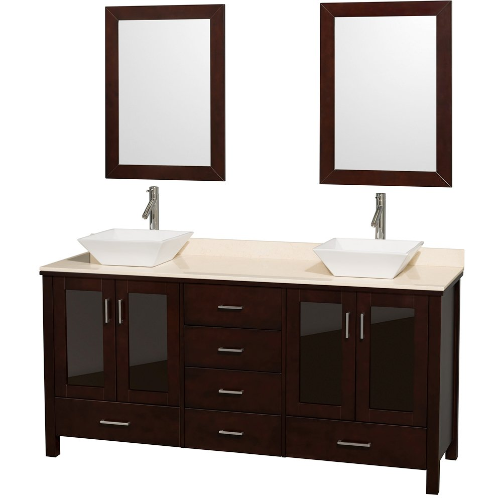 Wyndham Collection Lucy 72 inch Double Bathroom Vanity in Espresso with Ivory Marble Top with White Porcelain Sinks