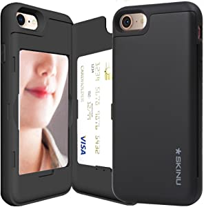 iPhone 8 Case, Credit Card Holder ID Slot Card Case SKINU [iPhone 8 Card Wallet Case] with Mirror for Apple iPhone 8 (2017) - SF Black