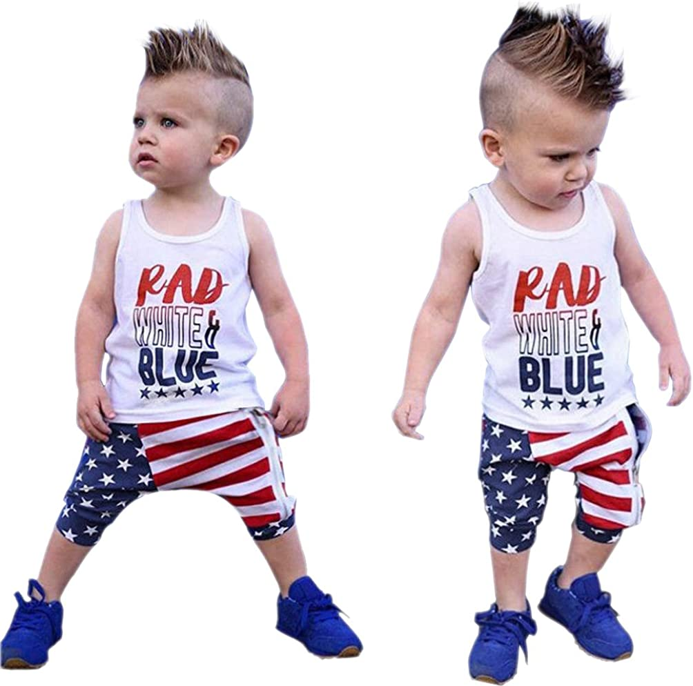 Toddler Baby Boys Patriotic Outfit 4th of July Independence Day Clothes Sleeveless T-Shirt Pants 2Pcs Set