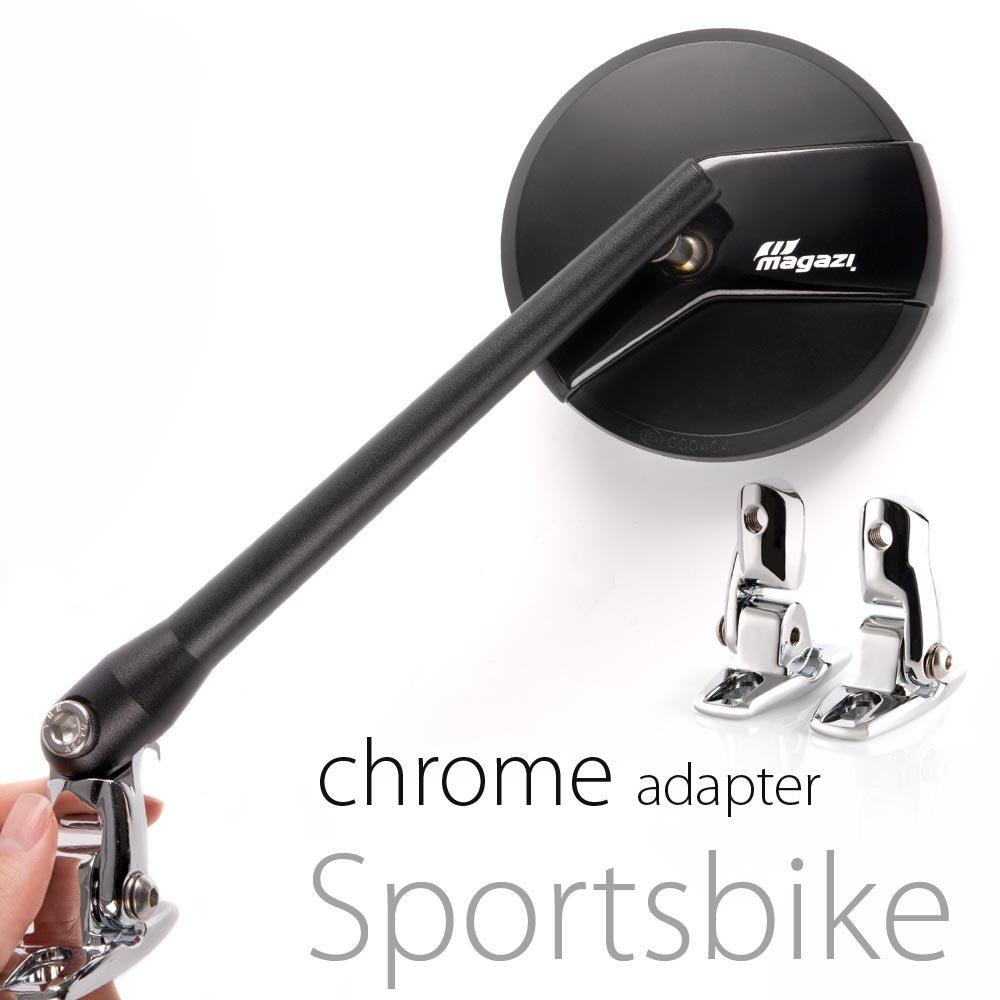 KiWAV Magazi Missie CNC aluminum motorcycle black mirrors for Sports bike with chrome adapter
