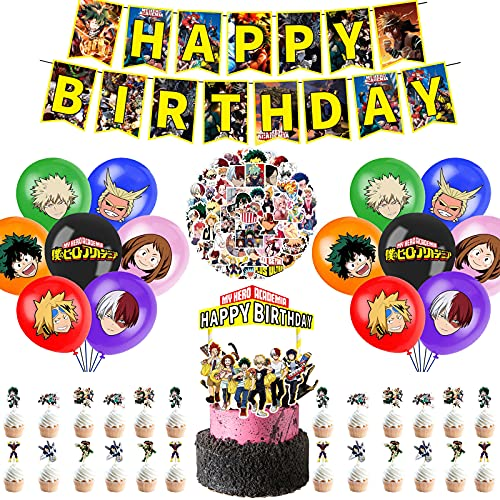 My Hero Academia Birthday Decorations Party Supplies Include Cool Happy...