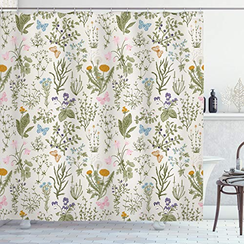 """Ambesonne Floral Shower Curtain, Vintage Garden Plants with Herbs Flowers Botanical Classic Design, Cloth Fabric Bathroom Decor Set with Hooks, 70"""" Long, Pink Blue"""