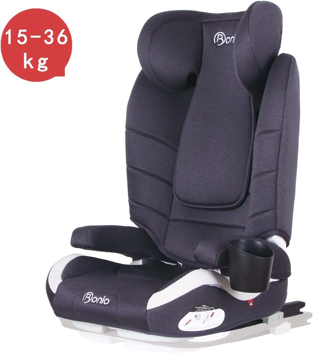 Bonio Convertible Child Booster Car Seat for Group 2//3 with ISOFIX ECE R44//04 Red 15-36kg