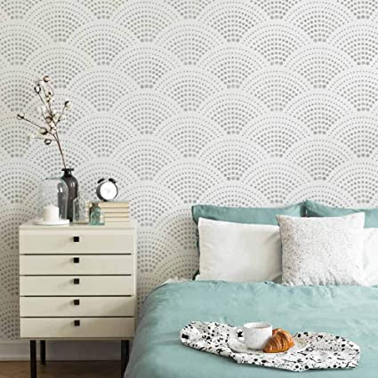 Amazon Com Radiant Scallop Wall Stencil Large Stencils For Painting Walls Try Stencils Instead Of Wallpaper Modern Stencils For Wall Painting Stencil Designs For Diy Home Decor Arts Crafts Sewing