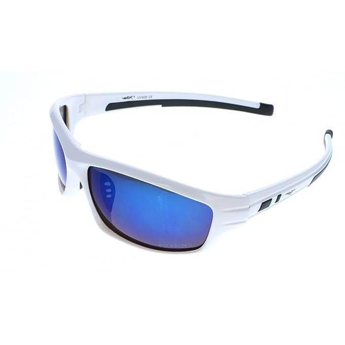 VertX hombres polarizan gafas de sol deporte ciclismo carrera - Marco blanco - Lente azul: Amazon.es: Ropa y accesorios