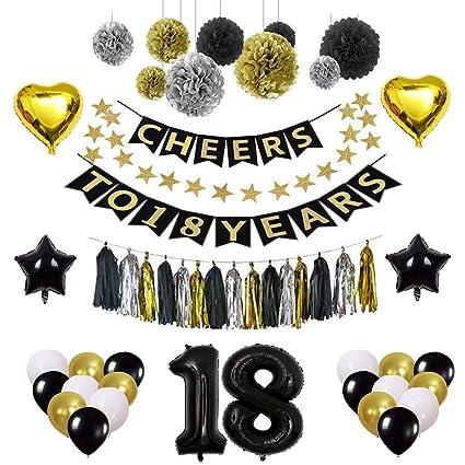Amazon.com: Adornos para cumpleaños 18, decoraciones para ...