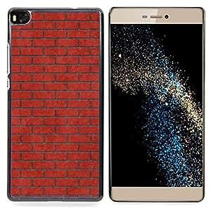 "Qstar Arte & diseño plástico duro Fundas Cover Cubre Hard Case Cover para Huawei Ascend P8 (Not for P8 Lite) (Pared de ladrillo Rosa Rojo Significado Música"")"