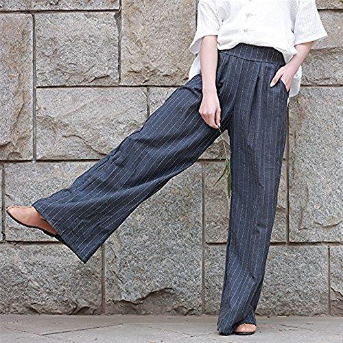 Haidean Anchas Cintura Anchos Alta Lino Pantalon Casual Tiempo Tela Elegantes  Libre Mujer Palazzo Vintage Flecos Fashion ... d2dddd2511a8