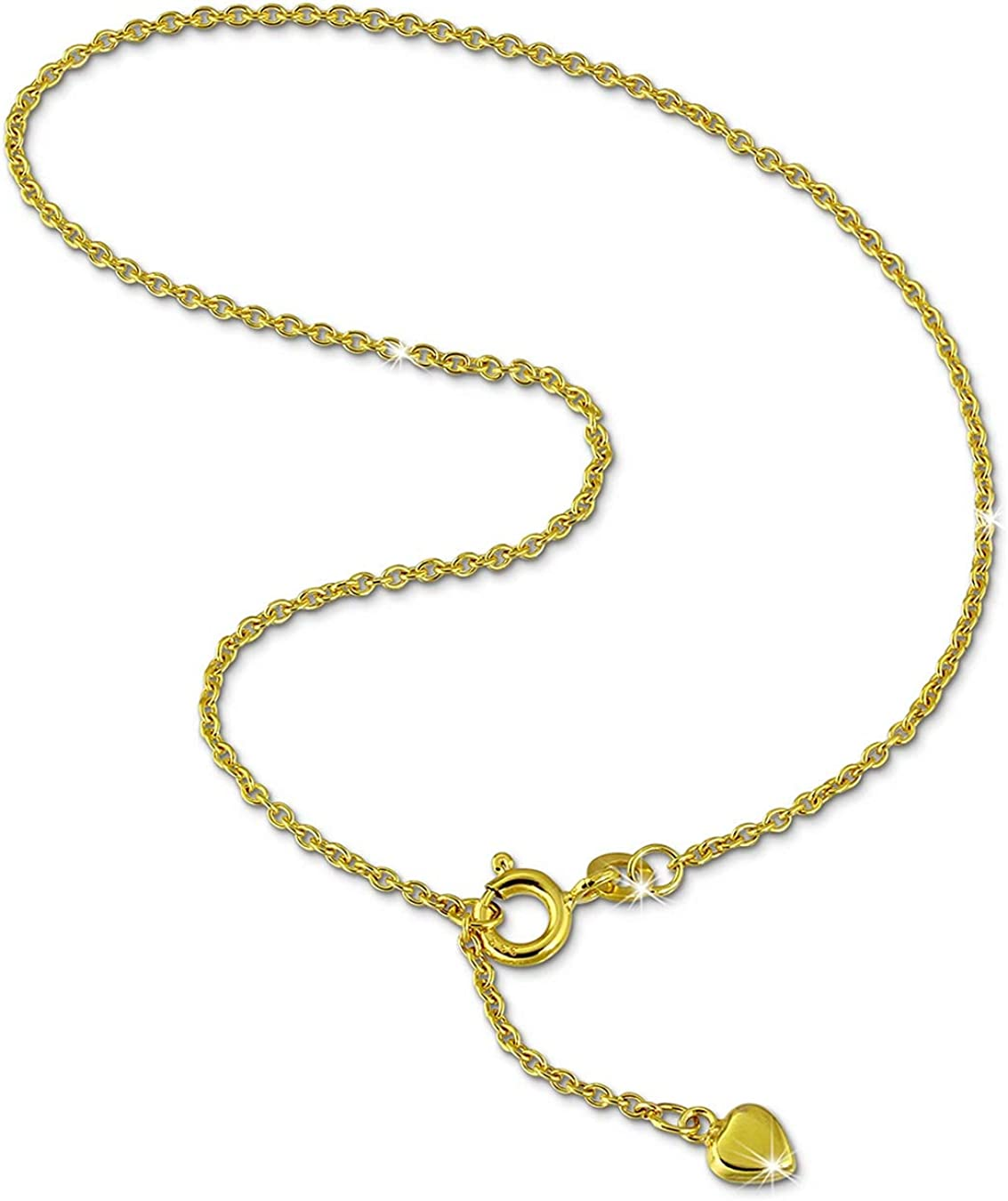 SilberDream coeur Les dames de la cha/îne de cheville bijoux en or 25cm 333 or jaune GDF0055Y