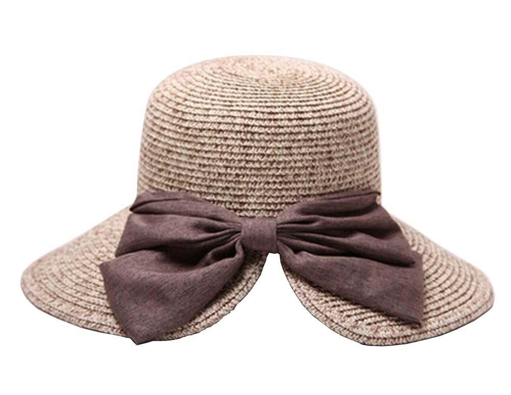 Alien Storehouse Fashion Women Summer Straw Hat Beach Hat Wide Brim Hat Bow Khaki
